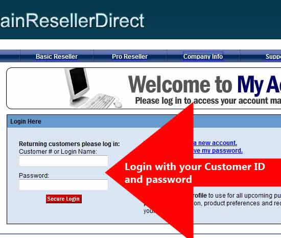 Login to Domain Reseller Direct